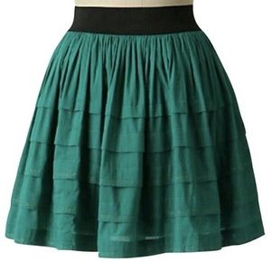 Anthropologie Odille Teal Tiered Skirt Elastic